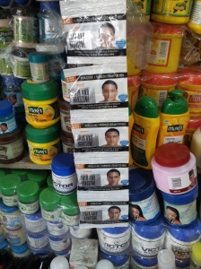 "Male skin bleaching sachets, ""extra strength for tough male skin"""